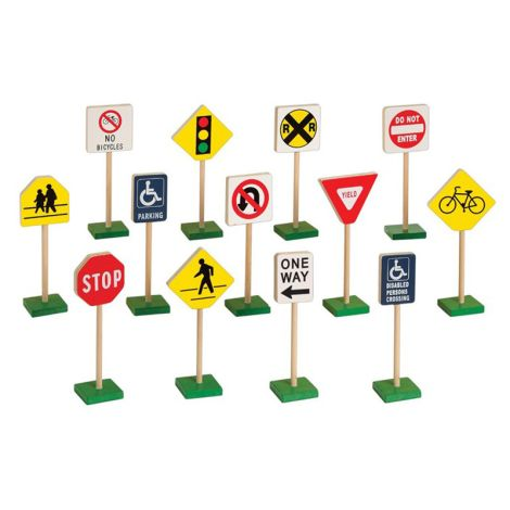 "7"" Block Play Traffic Signs Barcode Print"