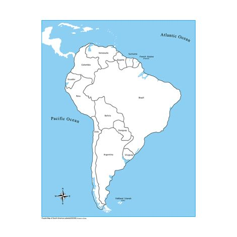 Labeled South America Control Map