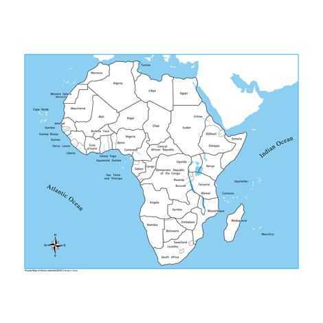 Labeled Africa Control Map - PP Plastic