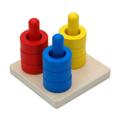 Colored Discs On 3 Colored Dowels