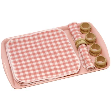 Rolling A Mat With A Napkin Ring - Pink
